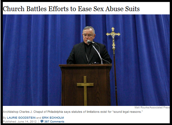 Catholic Church fights victims of abuse.