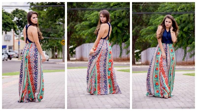vestido longo frente única colorido em cetim - fotos