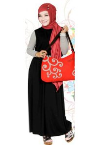 Nuhijab Plain Dress - Black (Toko Jilbab dan Busana Muslimah Terbaru)