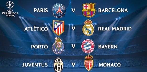 Sorteio da Champions League define confronto das quartas de finais