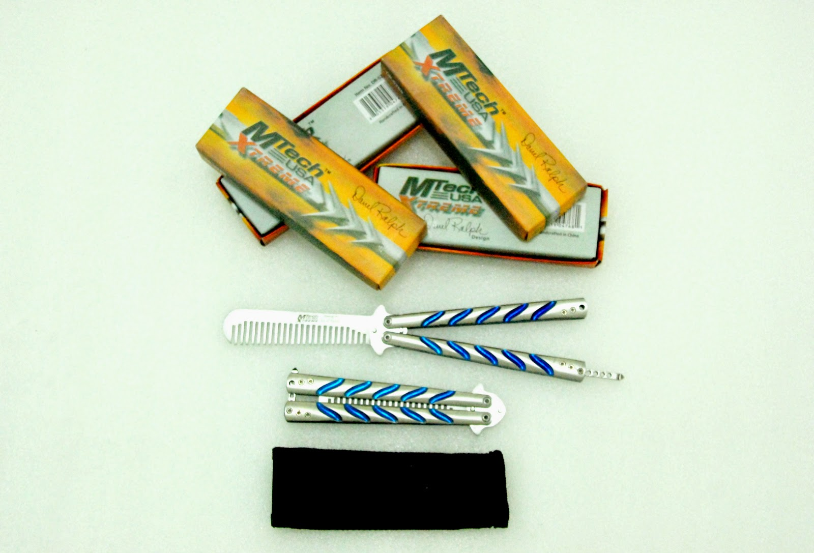 Balisong Butterfly Comb MTech Silver Blue