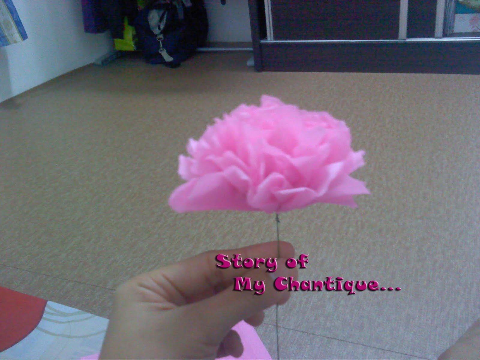 12) Taraa! Dah siap. 1 kuntum bunga tisu. Kalau hendak buat seperti ...