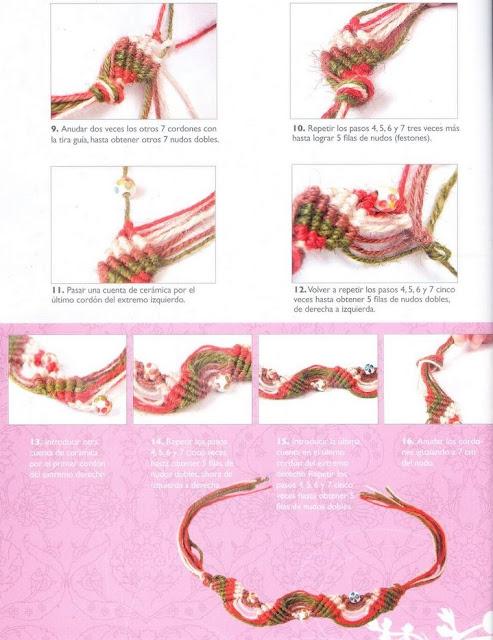 Pulsera de lana y nudos portal de manualidades - Nudos marineros para pulseras ...