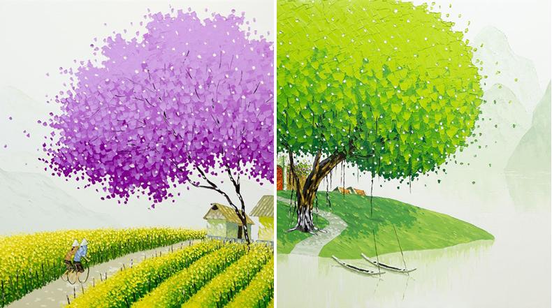 Paisajes vietnamitas pintado por Phan Thu Trang