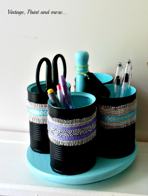 Vintage, Paint and more... desktop organization diy'd from painted tincans and a condiment lazy Susan
