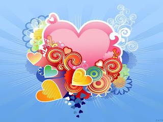 Varios corazones con fondo celeste