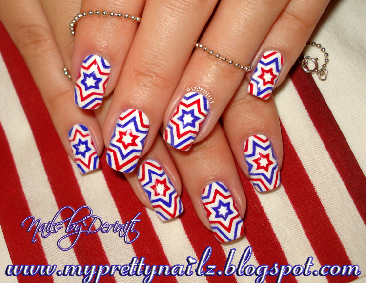 My Pretty Nailz 4th Of July Independence Day Firecracker Stars Red