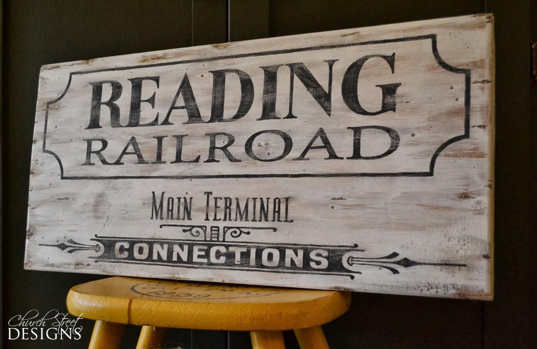 church street designs vintage railroad sign