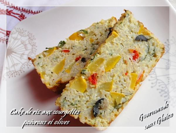 Cake de riz aux courgettes, poivrons et olives