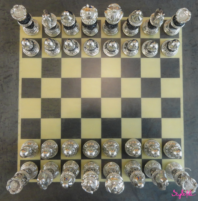 chess, vintage, home, decor, lifestyle, silver, antique, set