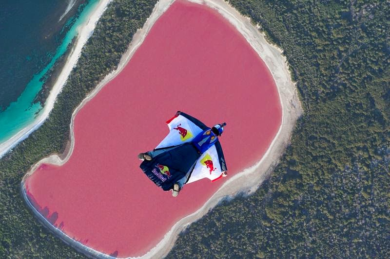 This Red Bull athlete is the first person to skydive over Western Australia's bubblegum-pink Lake Hillier... amazing!