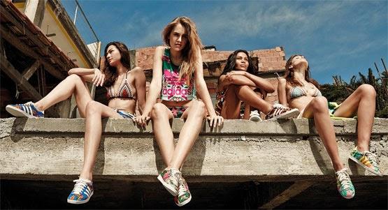 coleção Adidas Originals e Farm regatas biquínis shorts e tênis