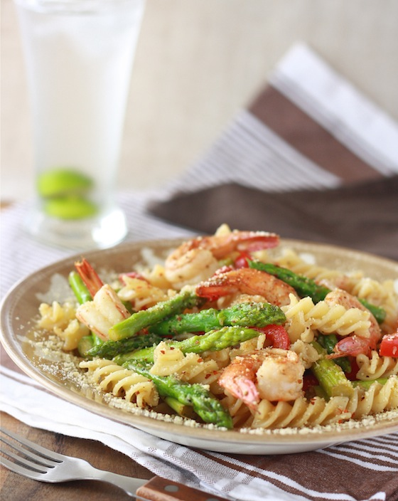 Lemongrass Asparagus Pasta with Shrimp by SeasonWithSpice.com