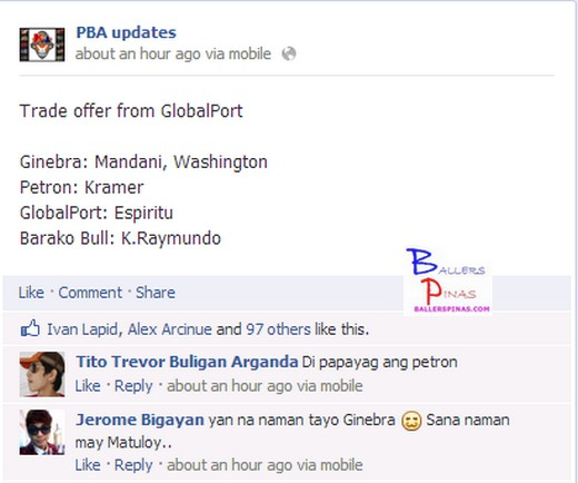 Ginebra To Get Jay Washington and Mandani In GlobalPort's New Trade