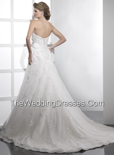 romantic handmade flowers and ribbons Beach Splendid Wedding dresses