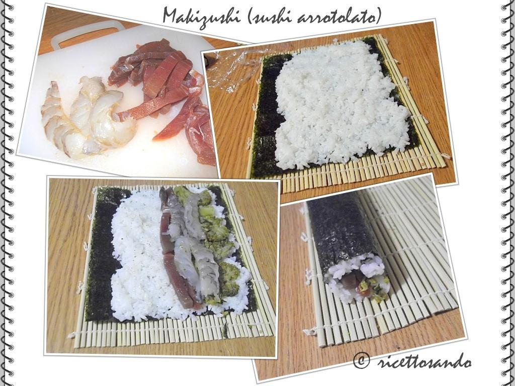 Makizushi (sushi arrotolato) prepariamo gli strati sulla stuoina