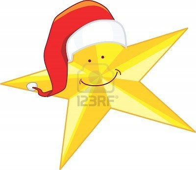 illustration of a yellow star with santa clause hat and a smile on the face of the star
