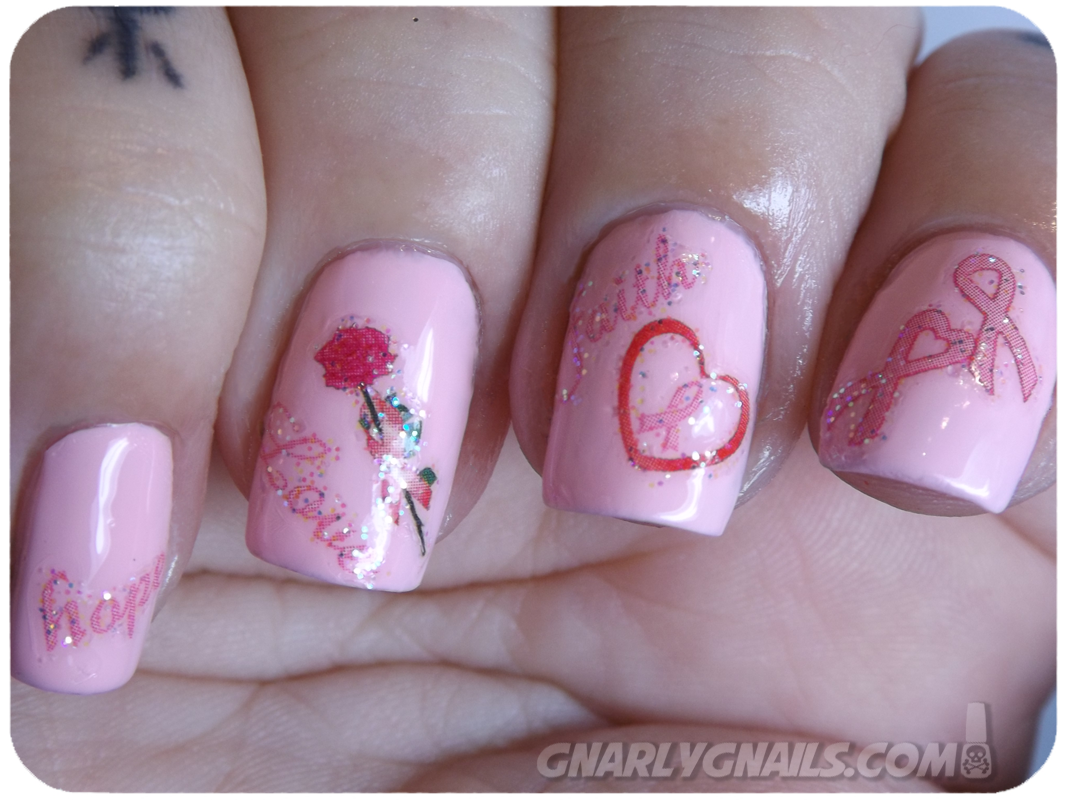BCA Pink Week - Day 1 - Joby Nail Art - Gnarly Gnails
