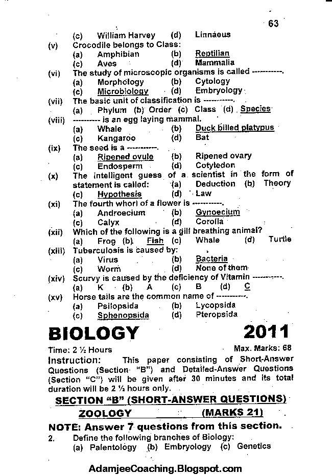 Biology Past Year Paper 2011