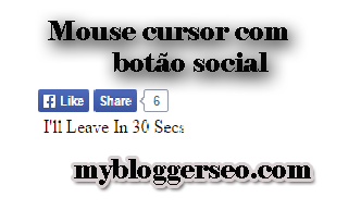 Facebook Like and share com Icone do mouse