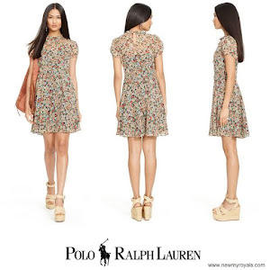 Crown Princess Victoria Style Ralph Lauren Floral Print Silk Dress