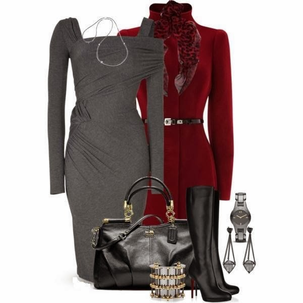 Gray Dress, Red Coat, Bag, Shoes...