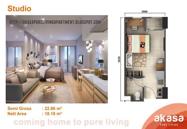 Tipe Studio Apartemen Akasa Pure Living BSD