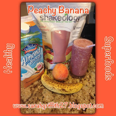 shakeology, vegan shakeology, summer smoothie, peachy banana, tropical strawberry, top beachbody coach, sarah griffith, elite coach,