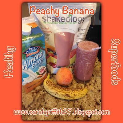 shakeology, vegan shakeology, summer smoothie, peachy banana, tropical strawberry, top beachbody coach, sarah griffith, elite coach,
