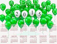 Decenas de globos verdes sirviendo de marco para un calendario 2015