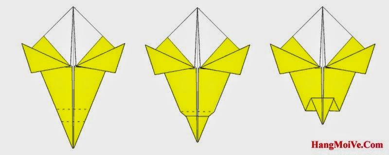 Bước 8: Gấp góc dưới của hình 1 theo chiều từ dưới lên trên (hình 2) ta được hình 3.