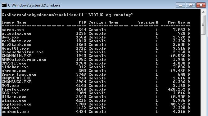 Cara menampilkan aplikasi yang aktif menggunakan command prompt