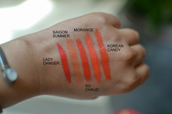 5 Fabulous Best Must-Have Orange Lipsticks By MAC Indian Darker Skin Beauty Makeup Blog Swatches Lady Daner Saigon Summer So Chaud Morange Korean Candy
