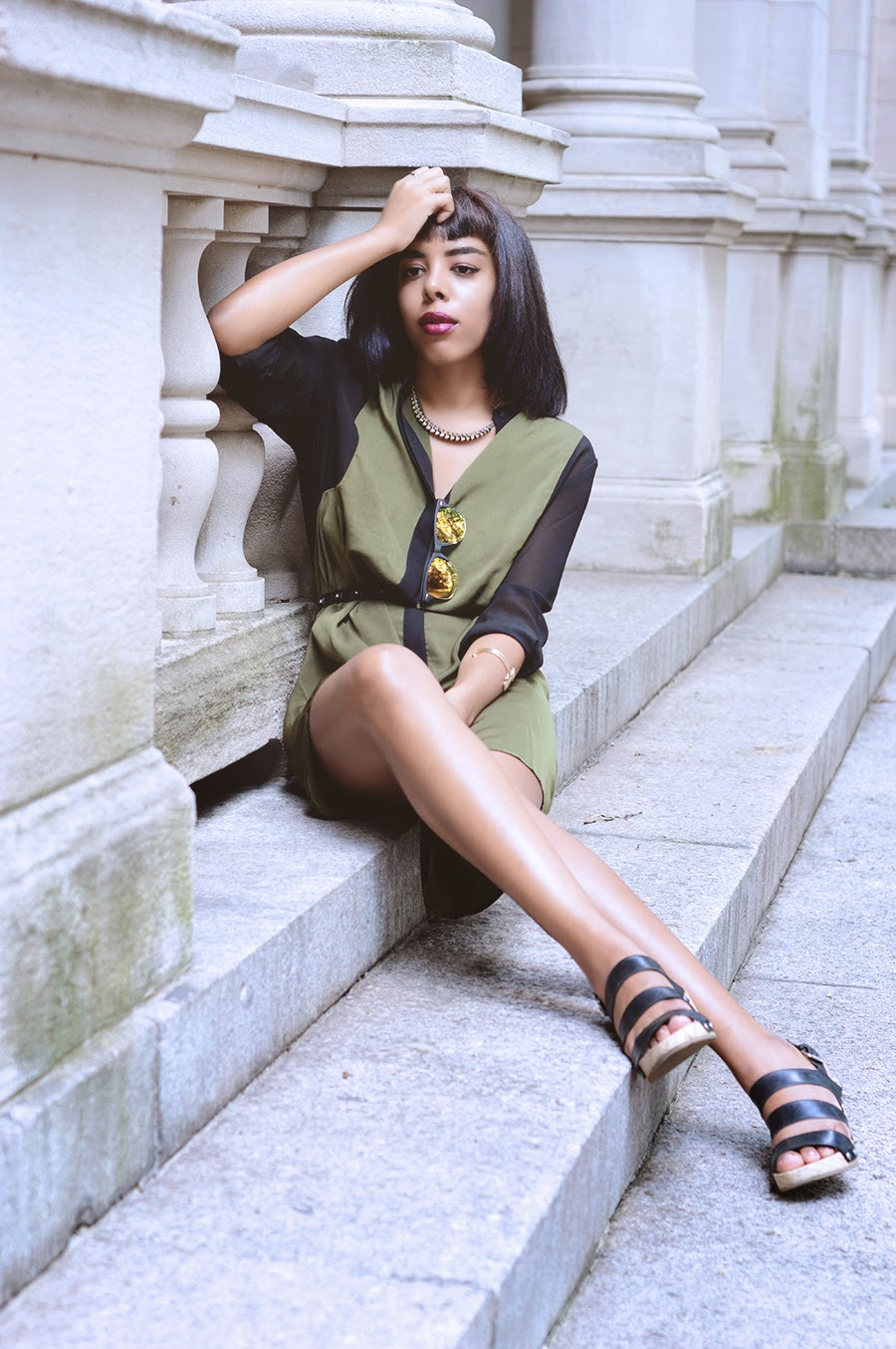 Indie Fashion Blogger Anais Alexandre of Down to Stars in a Knot Sisters dress with cooperative urban outfitters sandals in prospect park