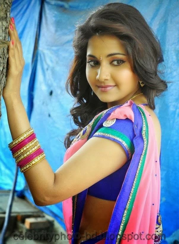 latest+Photo shoot+of+Manochitra+with+a+Hot+Pink+Sari009