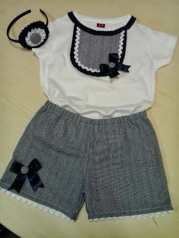 camiseta marinera con pantalon corto y diadema a juego