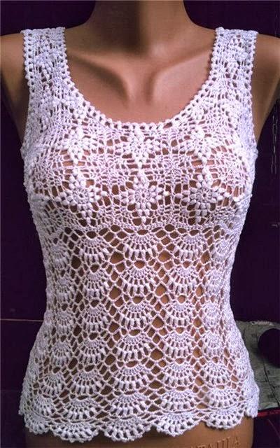 Free Crochet Pattern Ladies Summer Top : Feito Por Mim ! Artesanato para iniciantes.: Camiseta ...