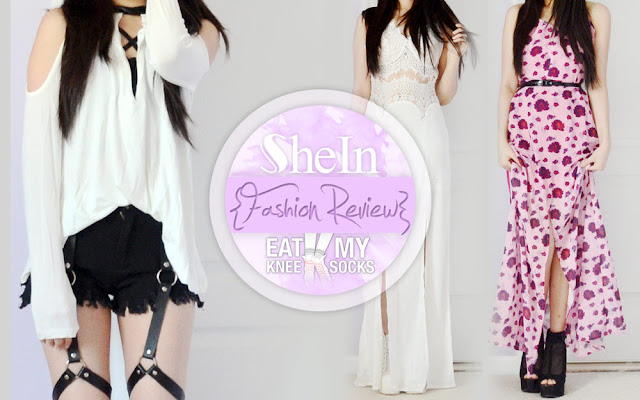 A review of a leather-trim cold-shoulder V-neck top, eyelash lace maxi dress, and For Love & Lemons Rosita dupe maxi dress from SheIn, brought to you by Eat My Knee Socks/Mimchikimchi.