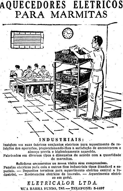 Propaganda de aquecedores elétricos para marmitas em 1946.
