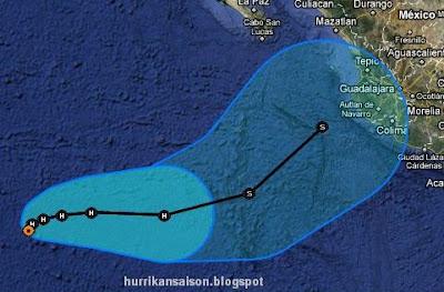 Hurrikan IRWIN: Noch mehr gute Nachrichten - es sei denn, man ist in Manzanillo / Puerto Vallarta, Irwin, Mexiko, Manzanillo, Puerto Vallarta, Jalisco, Nayarit, Vorhersage Forecast Prognose, Verlauf, Zugbahn, aktuell, Oktober, 2011, Hurrikansaison 2011,