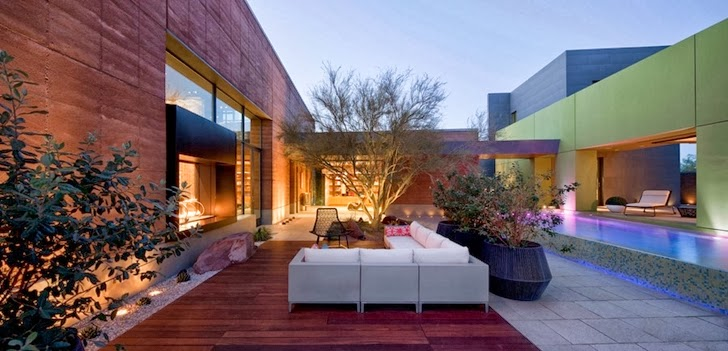 Outdoor terrace in Multimillion modern dream home in Las Vegas