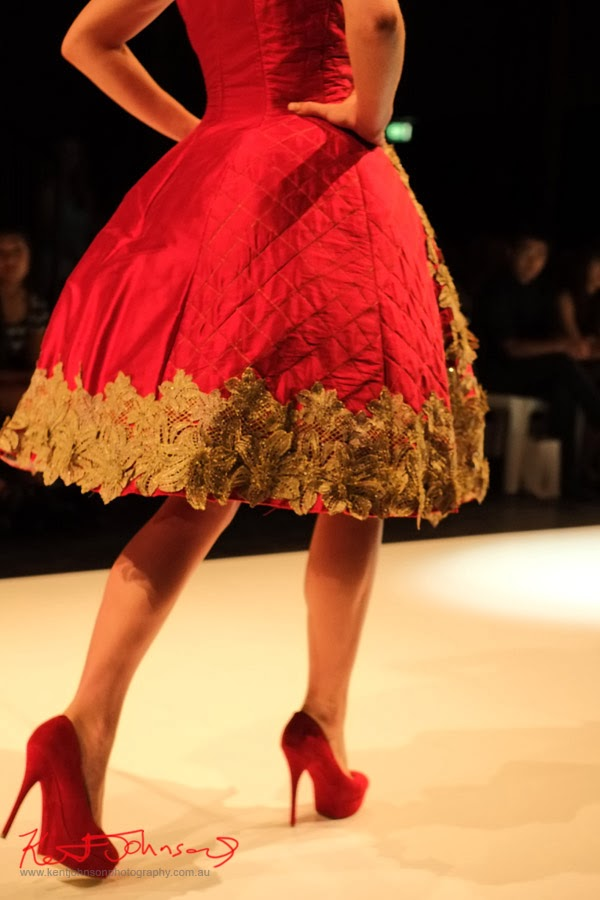 Ellen Yuliantri; red quilt dress, detail - New Byzantium : Raffles Graduate Fashion Parade 2013 - Photography by Kent Johnson.