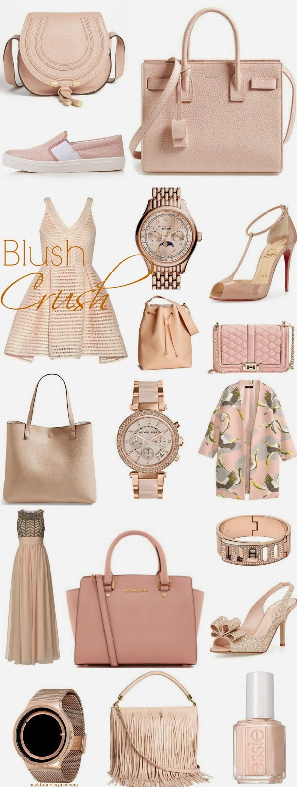 Fashion Blog: Blush coloured fashion accessories shoes, bags and dresses for spring 2015 from H&M, Burberry, essie, Michael Kors, Louboutin, YSL, Manolo Blahnik, Chloe