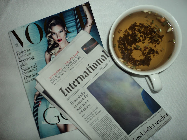 green tea vogue paper sunday reading