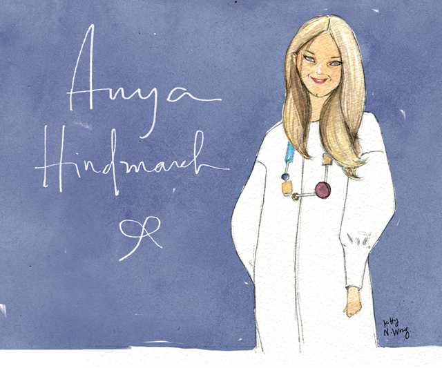 watercolour and digital Anya Hindmarch portrait with calligraphy handlettering