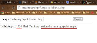 Hasil Fungsi Terbilang Rupiah dalam PHP
