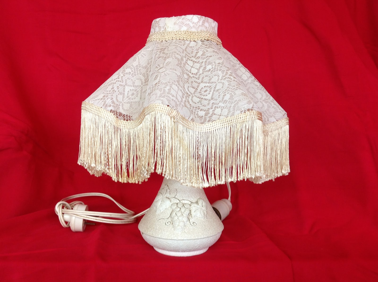 Pretty Bedside table lamp with lace shade