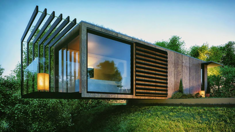 Lovely Cantilevered Shipping Container Garden Office