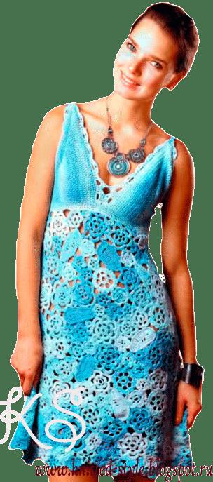 Голубое платье в стиле фриформ