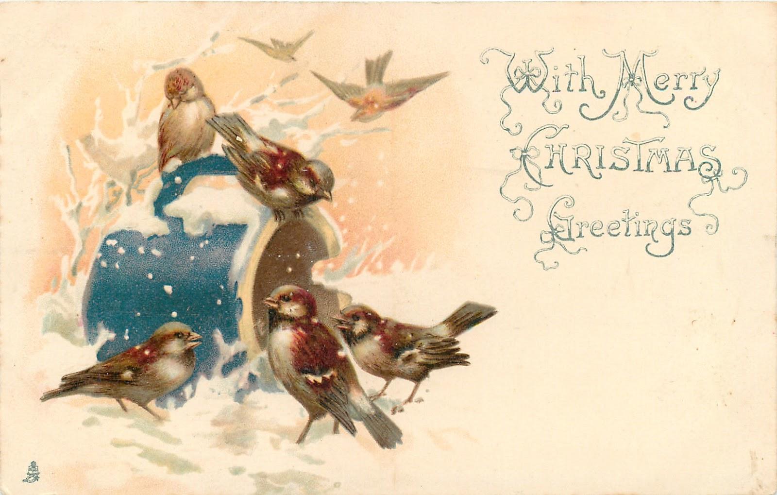 Старинные новогодние открытки винтаж с животными 65